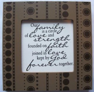 "Kindred Hearts Inspirational Quote Frame (6 x 6 Brown Dot Pattern) (""Our family is a circule of love and strength, founded on faith, joined in love, kept by God forever together "") : Everything Else"