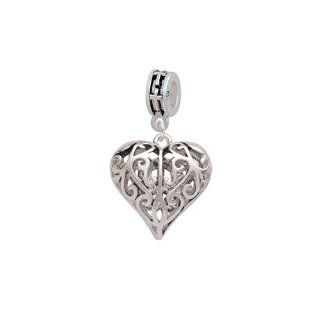 Large Open Filigree Heart European Silver Cross Charm Dangle Bead: Delight Jewelry: Jewelry
