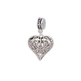 Large Open Filigree Heart European Silver Cross Charm Dangle Bead: Delight Jewelry: Jewelry
