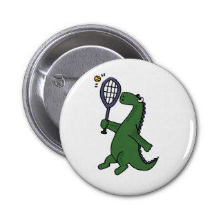 Funky Dinosaur Playing Tennis Cartoon Pin