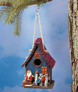 Rustic Wood Holiday Birdhouse with Santa   Bird Houses