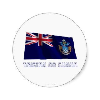 Tristan da Cunha Waving Flag with Name Sticker