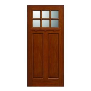 Main Door Craftsman Collection 6 Lite Prefinished Golden Oak Solid Mahogany Type Wood Slab Entry Door SH 706 GO