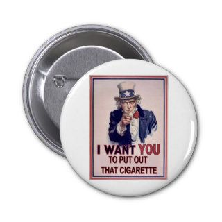 funny no smoking sign pinback button