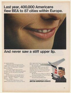 1967 BEA British European Airways Stewardess Smile Never Stiff Upper Lip Print Ad (53602)