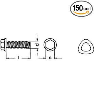 (150pcs) Metric DIN 7500D M6X16 Hex Head Thread Forming Screw With Trilobular Thread steel zinc plated Ships Free in USA Hex Bolts Industrial & Scientific