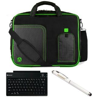 Green VG Pindar Edition Messenger Bag Carrying Case for Samsung ATIV Smart PC Pro 700T 11.6 inch Windows Tablet + Executive Laser Stylus Pen with LED Light + SumacLife Bluetooth Wireless Keyboard Computers & Accessories