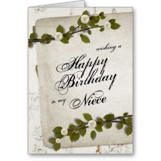 White Wood Happy Birthday Niece Cards