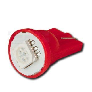 LED T10 W 5050 1SMD LED RD, T10 Adapter 5050 194 168 W5W 1 SMD 12V Bright Red Led Wedge Light for Interior Dome Lamp Trunk Door Panel Center Map Console Bulb: Automotive