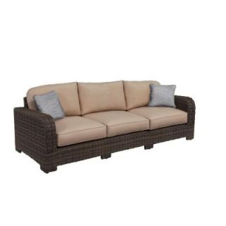 Brown Jordan Northshore Patio Sofa in Sparrow with Congo Throw Pillows M6061 S 2