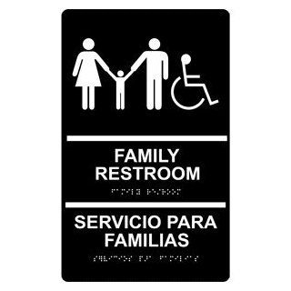 ADA Family Restroom Bilingual Braille Sign RRB 170 WHTonBLK Restrooms  Business And Store Signs