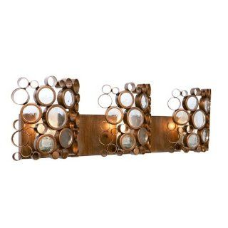 Varaluz 193B03HO Fascination HO Collection 3 Light Vanity Fixture, Hammered Ore Finish with Clear Recycled Glass Discs