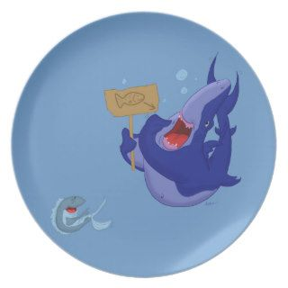 Hungry Blue Cartoon Shark Dinner Plate