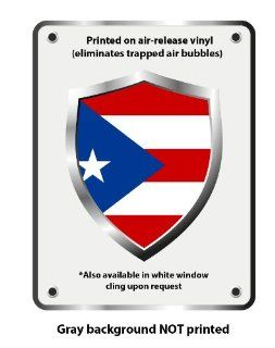 """Puerto Rico country flag shield vinyl sticker decal 5"""" x 4"""""""