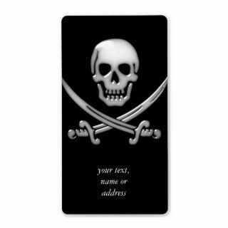 Glassy Pirate Skull & Sword Crossbones Custom Shipping Labels