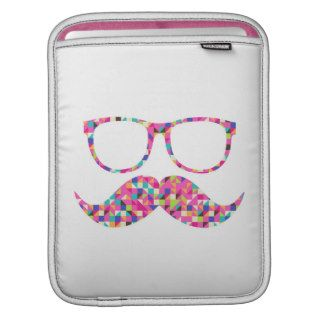 Funny Girly Pink Abstract Mustache Hipster Glasses Sleeve For iPads