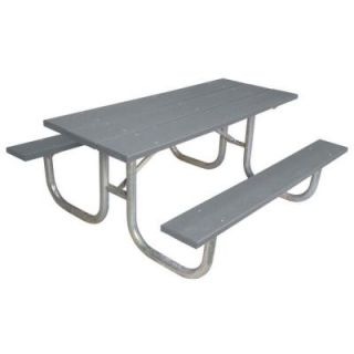 Ultra Play 6 ft. Gray Commercial Park Recycled Plastic Portable Table and Surface Mount G238 GRY6