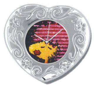 """Snoopy by Everhart"" Silver Color Heart Shaped Desk Top Table Clock Featuring Tom Everhart's Image of Woodstock as ""Bird Lips In A Pink Polyester Wig"" on the Dial: Watches"