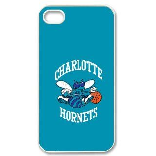 DIY Custom Cover Case with NBA Team Charlotte Hornets logo Mobile Back Case Fits iPhone 4&4s Series Five White Shell: Cell Phones & Accessories