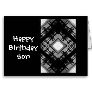 Happy Birthday Son, black & white design Greeting Card