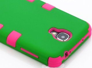 "myLife (TM) Pink   Green Matte Design (3 Piece Hybrid) Hard and Soft Case for the Samsung Galaxy S4 ""Fits Models: I9500, I9505, SPH L720, Galaxy S IV, SGH I337, SCH I545, SGH M919, SCH R970 and Galaxy S4 LTE A Touch Phone"" (Fitted Front and Back"
