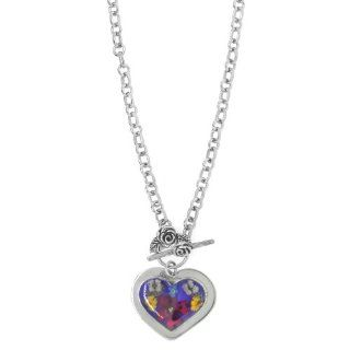 """Sterling Silver Pressed Flower Heart Necklace with Toggle Closure, 16"""" Pendant Necklaces Jewelry"""