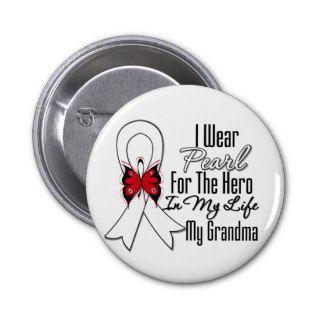 Lung Cancer Ribbon Hero My Grandma Pins