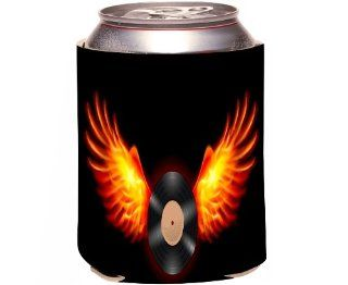 Rikki KnightTM Vinyl Record on Fire Design Drinks Cooler Neoprene Koozie Kitchen & Dining