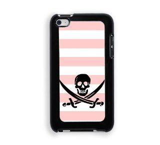 Jolly Roger Pirate Baby Pink Stripes Cute Hipsterc iPod Touch 4 Case   Fits ipod 4/4G: Cell Phones & Accessories