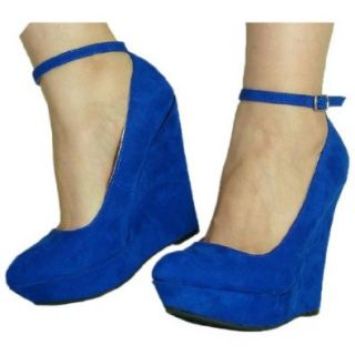 Women's Qupid Blue Suede Pointy Toe Ankle Strap Wedges Size 10.0 (Pulse02) Shoes