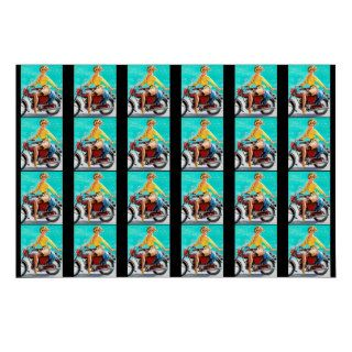 Vintage Motorcycle Rider Gil Elvgren Pinup Girl Gift Wrapping Paper