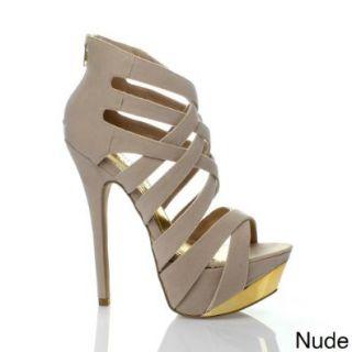 Liliana RESEDA 45 Women's Criss cross Strap Platform Sandals, Color:PINK, Size:10: Shoes
