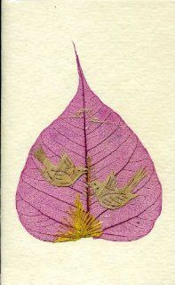 Handmade Blank Greeting Cards Birds Straw Art on Pipal / Peepal Leaf; Valentines Day Card; Spring Note Card