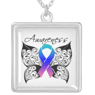 Thyroid Cancer Awareness Tattoo Butterfly Custom Necklace