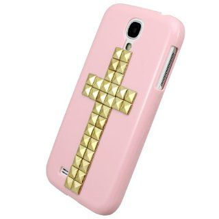 New Fashion Creative Handmade Series Hard Case Cover with 3D Rock Punk Gold Cross Style Studs Spikes for SamSung Galaxy SIV S4 I9500 (Pink) Retail Packaging: Cell Phones & Accessories