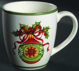 Christopher Radko Holiday Celebrations (Green Trim) Mug, Fine China Dinnerware