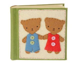 Kata Golda 8 by 8 Inch Bear Boy/Girl Felt Patch Handmade Photo Album   Bookshelf Albums