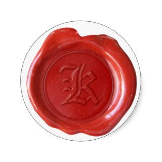 Wax Seal Monogram   Red   Old English   Letter K Stickers