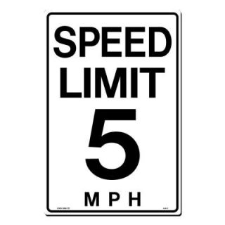Lynch Sign 12 in. x 18 in. Black on White Plastic Speed Limit 5 M.P.H. Sign A  6  5