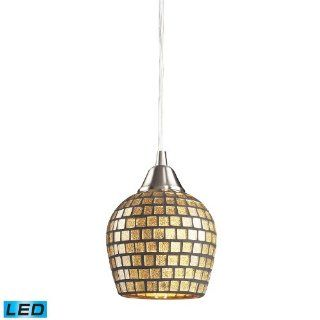 Elk 528 1GLD LED Fusion 1 LED Light Pendant with Gold Leaf Glass Shade, 5 by 7 Inch, Satin Nickel Finish   Ceiling Pendant Fixtures