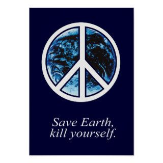 Save earth, kill yourself   poster