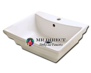 LUXExclusive Ceramic Vessel Sink V160B. 19 7/8'' x 17 1/8'' x 7 1/4'', Bisque, Porcelain   Single Bowl Sinks
