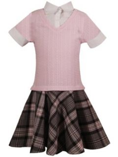 Rare Editions Girls PLUS Size PINK GRAY PLAID RIB CABLE KNIT MOCK LAYERED DROP WAIST Dress /RREF S20.5: Clothing