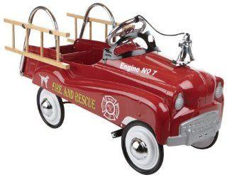 Stylish, Nostalgic Fire Truck Pedal Car For Children Ages 3 And Up   InStep Fire Truck Pedal Car