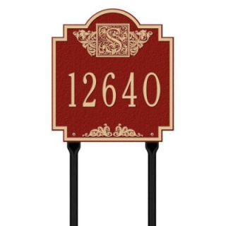 Whitehall Products Square Red/Gold Monogram Standard Lawn One Line Address Plaque 5105RG