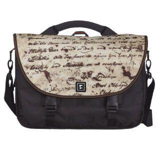 Vieja letra manuscrita del vintage bolsas para portátil de