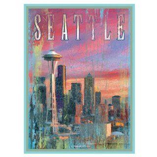 Santa Barbara Design Studio Seattle Mini Wall/Desk Plaque by Patrick Reid O'Brien, 4 by 6 Inch   Seattle Wall Art