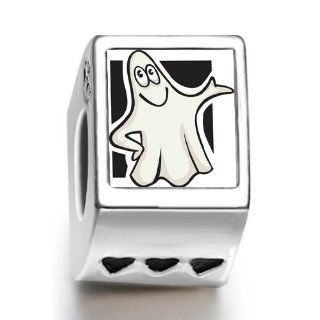 Soufeel Cute Halloween Ghost Clipart Photo Three Heart European Charms Fit Pandora Bracelets: Jewelry