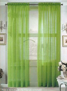 """2 Piece Solid Lime Green Sheer Curtains Fully Stitched Panels Window Drape 54"""" X 84""""   Window Treatment Sheers"""