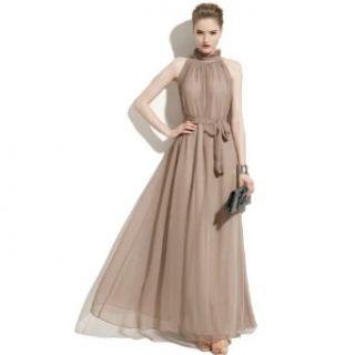 R.j Story Elegant Summer Chiffon Ruffle Neck Sleeveless Evening Ball Gown Long Maxi Dress (Khaki) at  Women�s Clothing store
